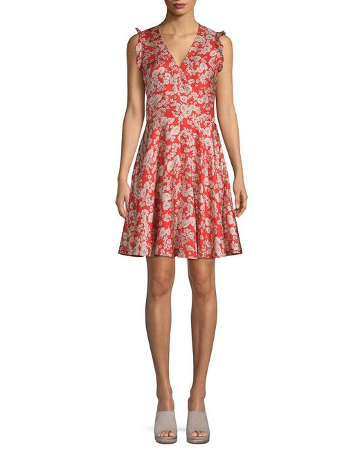 Rebecca Taylor - Red Silk Cherry Blossom Mini Dress - Lyst