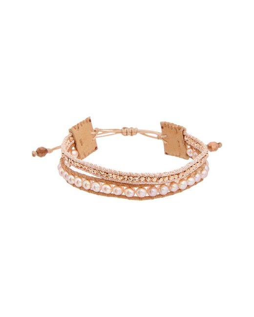 Chan Luu - Multicolor Rose Gold Over Silver 4mm Pearl Leather Adjustable Bracelet - Lyst
