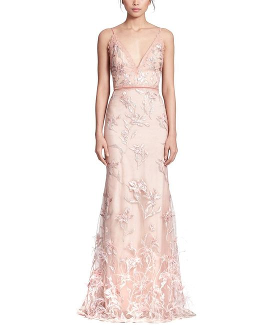 Marchesa notte Pink Feather Embroidered Sleeveless Gown