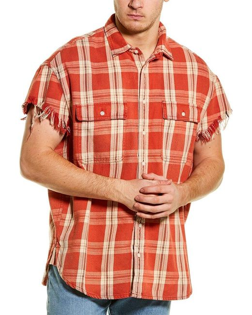 R13 Orange Oversized Cut-off Shirt for men