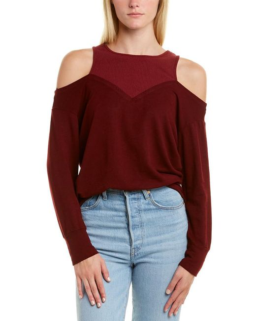 Monrow Red Cold-shoulder Sweater