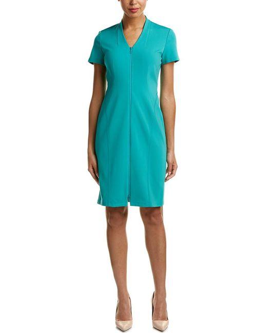 Lafayette 148 New York - Green Zip Front Sheath Dress - Lyst