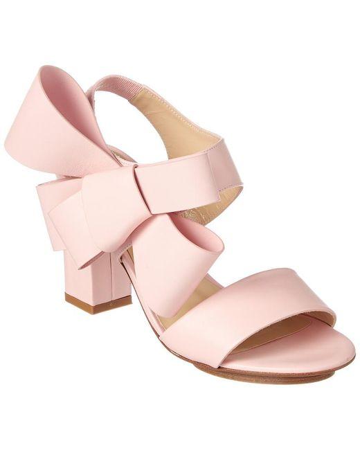 Delpozo Pink Oversized Bow Leather Sandal
