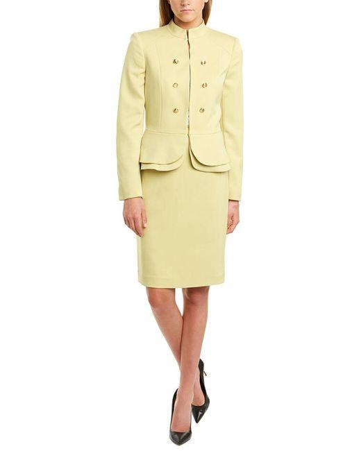 Tahari Yellow Petite Stand-collar Peplum-hem Skirt Suit