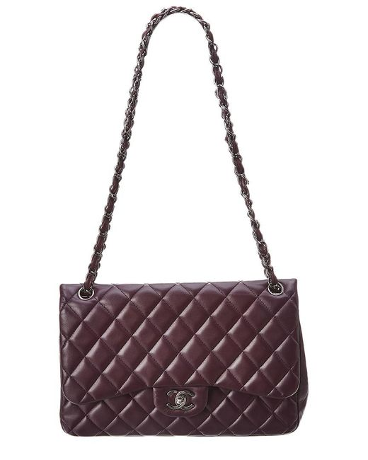 Chanel - Purple Quilted Lambskin Leather Classic Jumbo Double Flap Bag - Lyst
