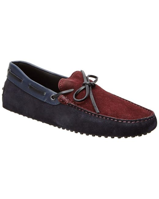 Tod's - Blue Gommino Suede Driving Shoe for Men - Lyst