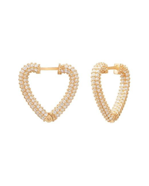 Gabi Rielle Metallic Sparkle-drenched 14k Over Silver Cz Heart Earrings