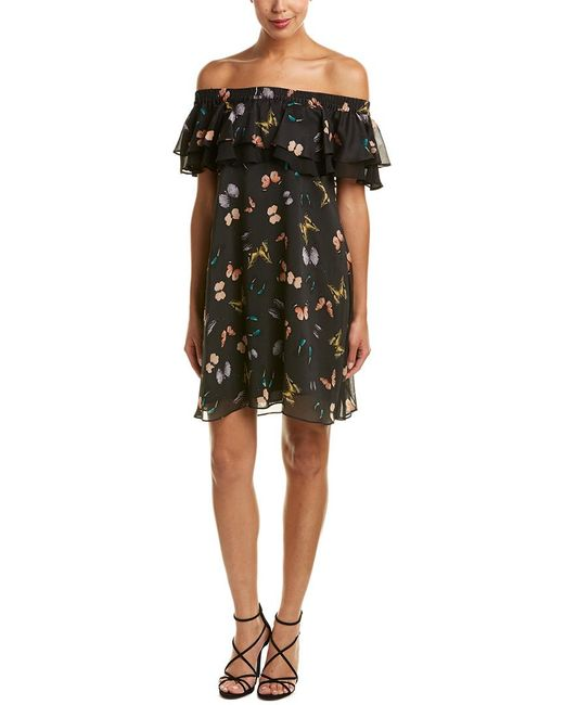 Sam Edelman Black Off-the-shoulder Ruffle Print Dress