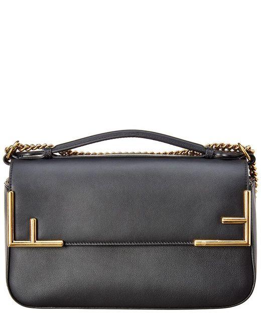9557d9539269 ... Fendi - Black Ff Leather   Canvas Shoulder Bag - Lyst