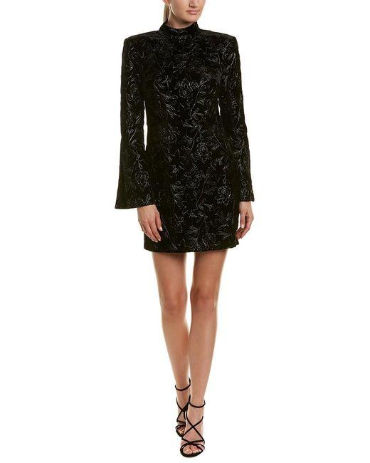 Cinq À Sept - Black Cutout Metallic Embroidered Velvet Mini Dress - Lyst