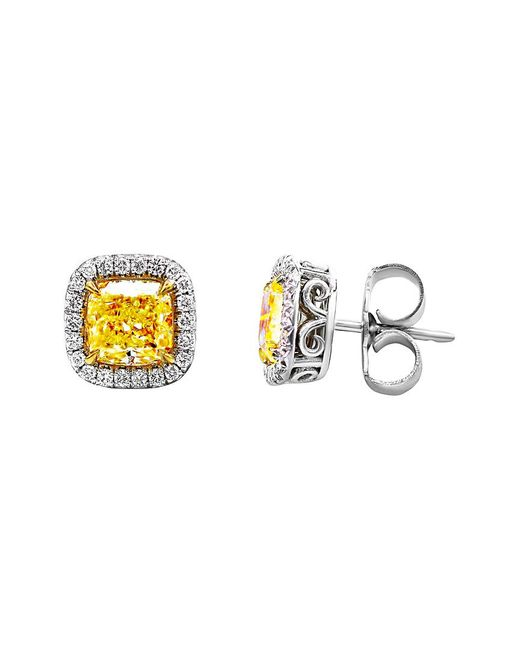 Diana M Metallic . Fine Jewelry 18k & Platinum 4.42 Ct. Tw. Diamond Studs