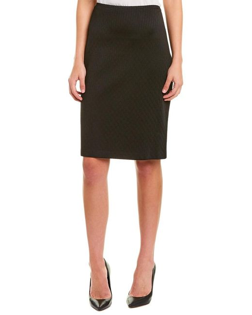 St. John Black Wool-blend Pencil Skirt