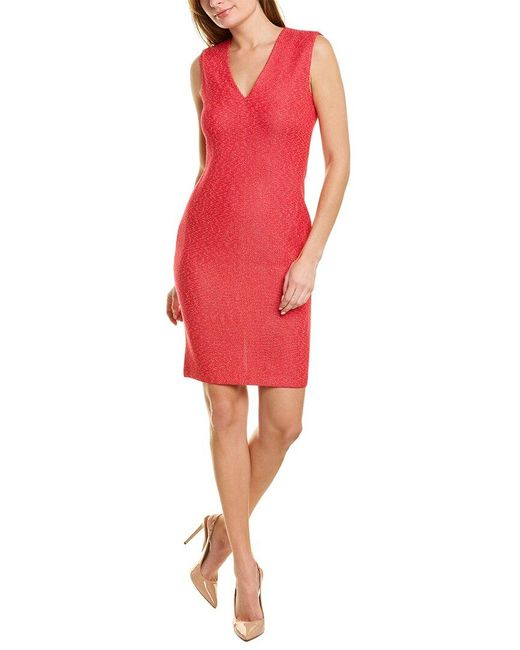St. John Red V-neck Wool-blend Sheath Dress