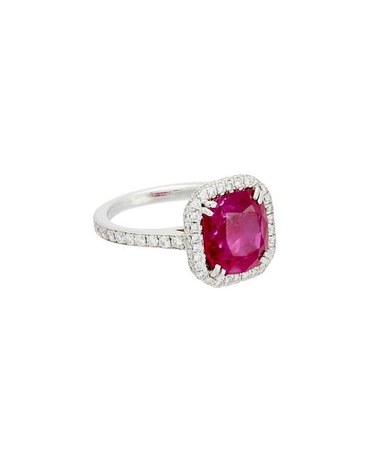 Diana M Multicolor . Fine Jewelry Platinum 4.44 Ct. Tw. Diamond & Ruby Ring