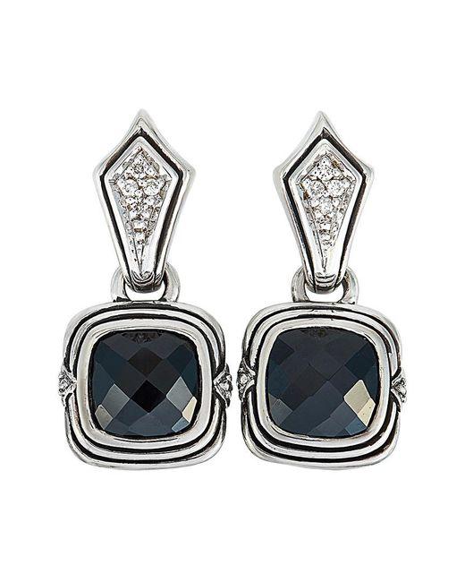 Scott Kay Metallic Silver 0.10 Ct. Tw. Diamond & Onyx Earrings