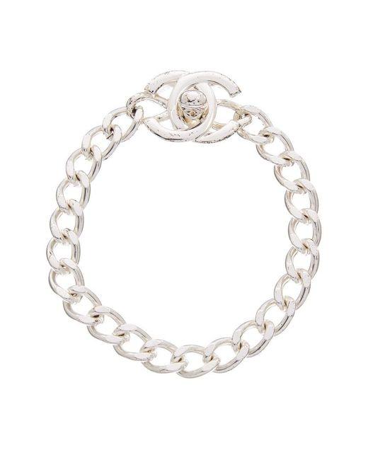 Chanel - Metallic Silver-tone Small Cc Turnlock Bracelet - Lyst