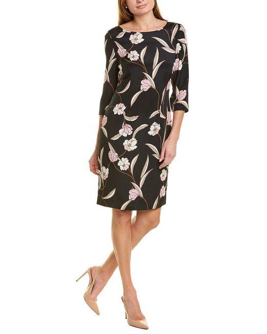 St. John Black Floral Silk-blend Midi Dress
