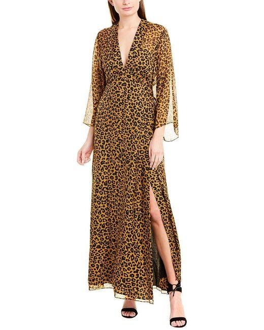 Michelle Mason Multicolor Long Sleeve Plunge Gown