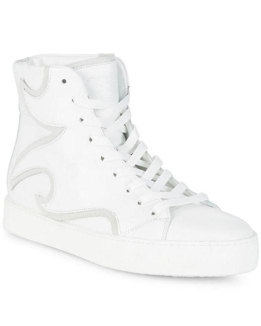 John Galliano - White Lace-up Hi-top Sneaker - Lyst