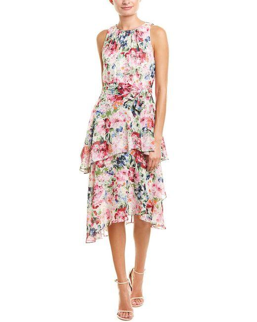 Tahari Pink Tahari Asl Midi Dress