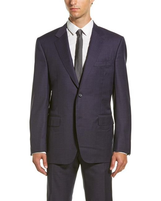 Canali Blue Wool Suit With Flat Front Pant for men
