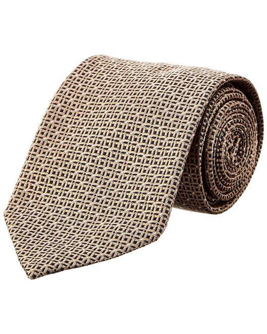 Brioni - Metallic Gold Squares Silk Tie for Men - Lyst