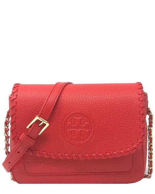 b820a45c92a1 Tory Burch Marion Leather Mini Bag in Red - Save 4% - Lyst