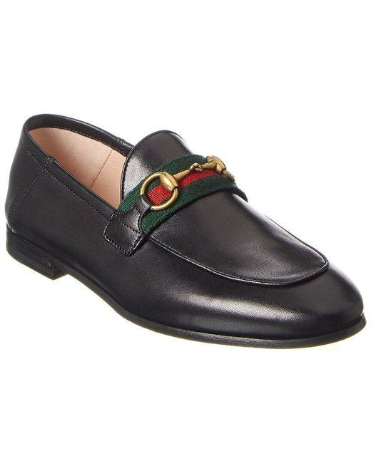 Gucci Black Web Horsebit Leather Loafer