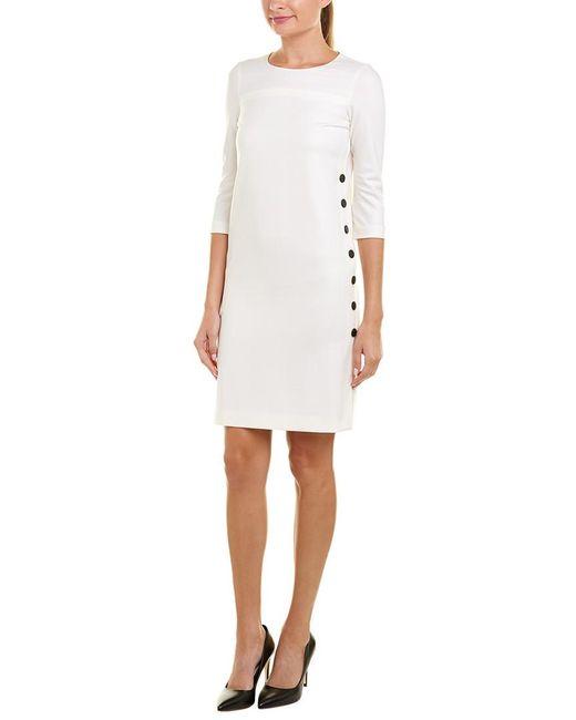 ESCADA - White Solid Roundneck Dress - Lyst
