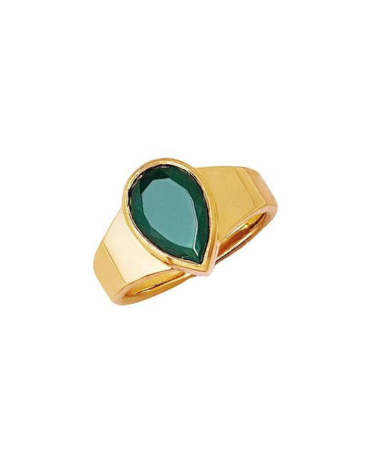 Johnny Was Multicolor Logan Hollowell 18k Over Silver Green Agate Ring