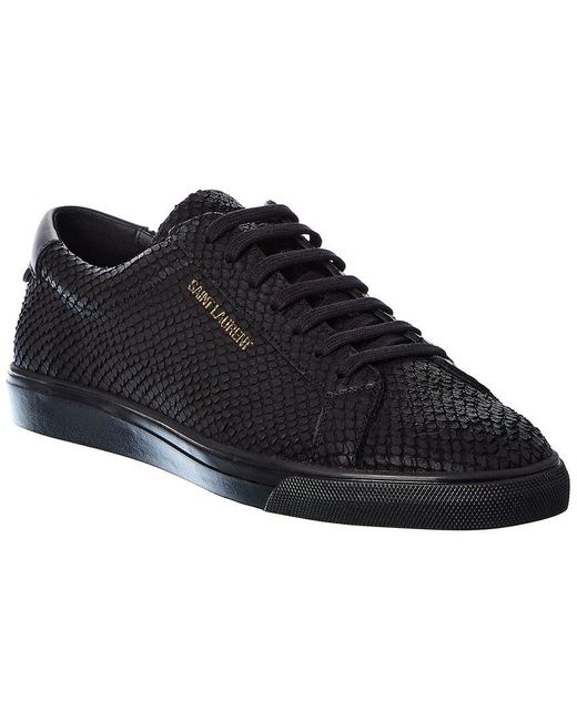 Saint Laurent Black Andy Python-embossed Leather Sneaker for men