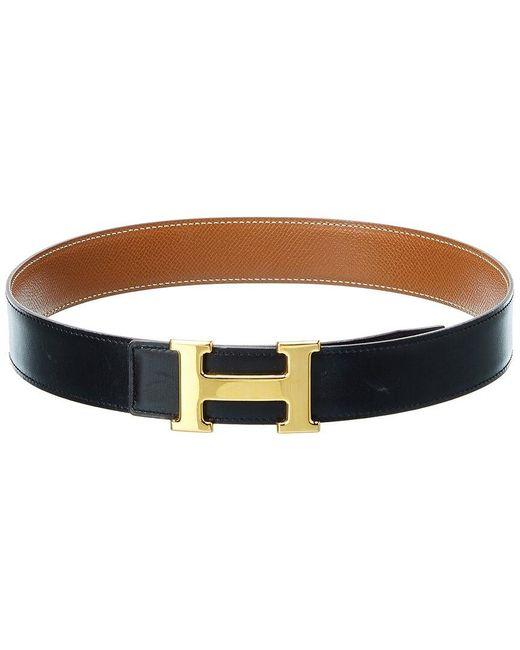 Hermès Black Constance Leather Belt, Size Fr 65