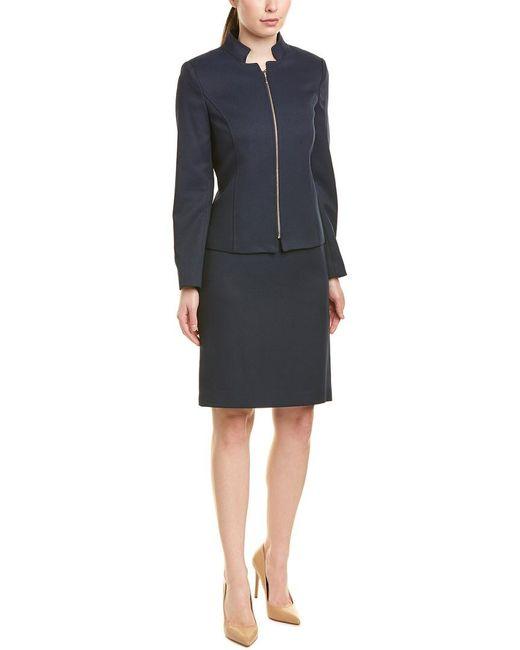 Tahari Blue Tahari Asl Skirt Suit