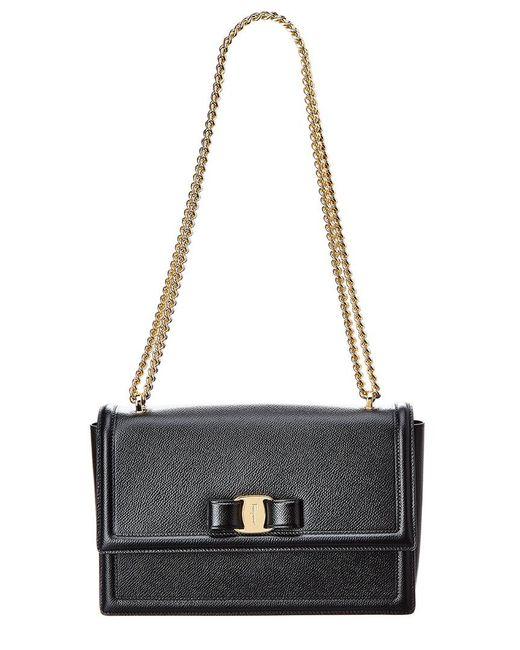 Ferragamo - Black Medium Ginny Leather Shoulder Bag - Lyst