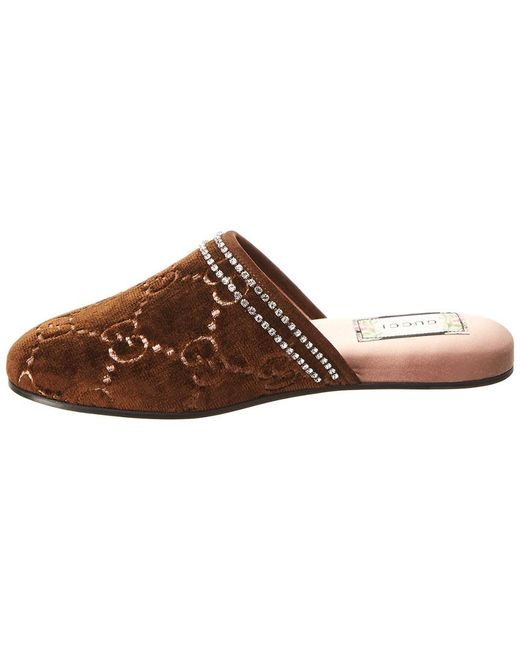 3acb01531 Gucci GG Velvet Slippers in Brown - Save 64% - Lyst
