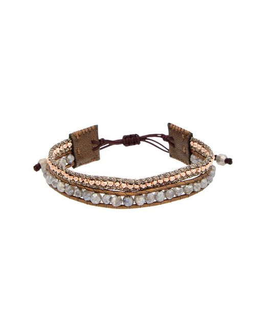 Chan Luu - Metallic Rose Gold Over Silver & Silver Labradorite Leather Adjustable Bracelet - Lyst