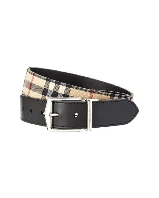 Burberry - Black Reversible Horseferry Check & Leather Belt for Men - Lyst