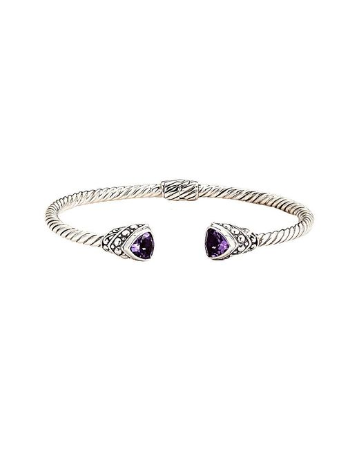 Samuel B. - Metallic Silver Amethyst Bangle - Lyst
