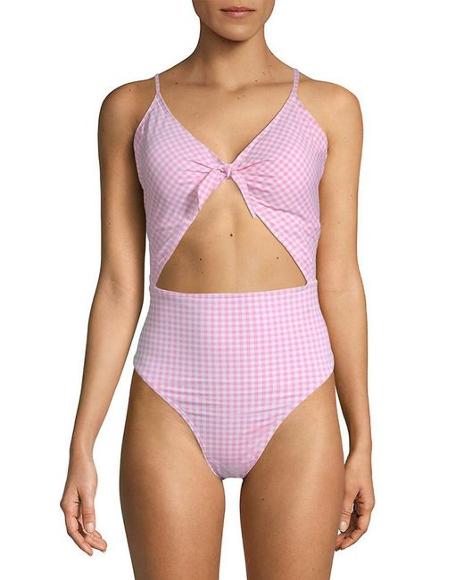 Juicy Couture Purple Cut Out One-piece Printed Swimsuit