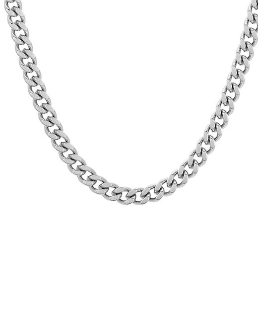 Adornia Metallic Rhodium Plated Cuban Chain Necklace for men