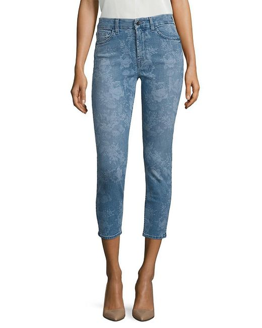 7 For All Mankind Blue 7 For All Mankind Lasered Rose Printed Cropped Skinny Jeans