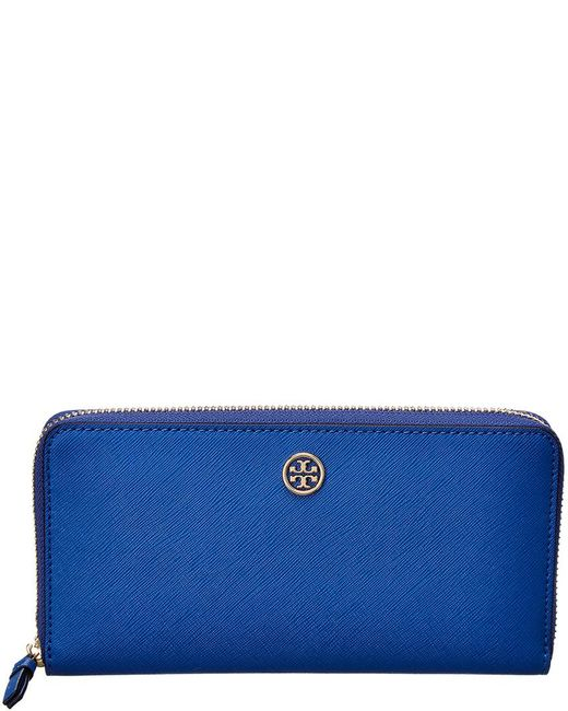 Tory Burch - Blue Robinson Zip Continental Leather Wallet - Lyst