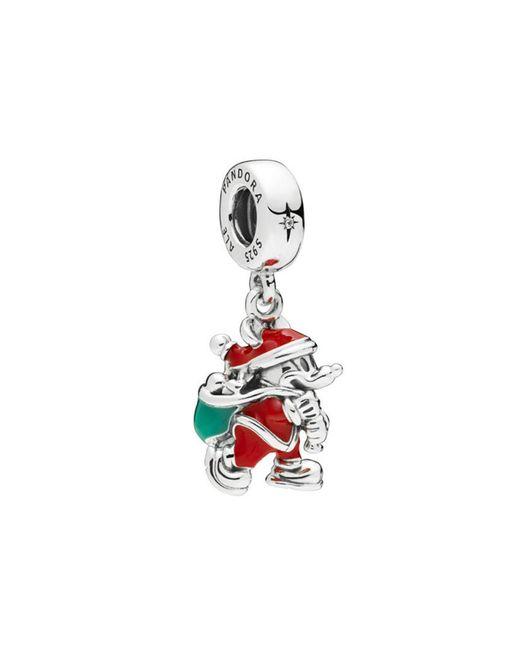Pandora Multicolor Disney Silver Cz & Enamel Santa Mickey & Gift Bag Dangle Charm