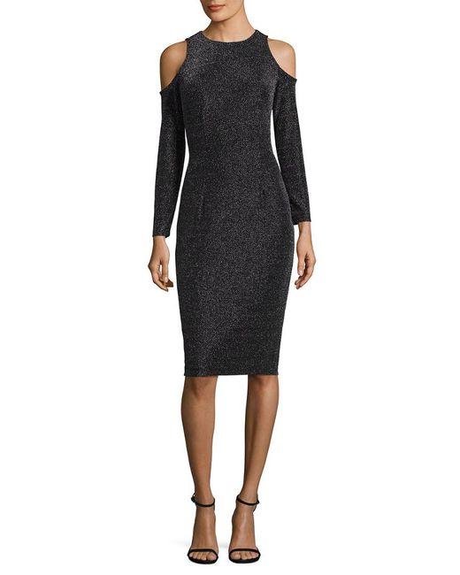 Maggy London - Black Geo Lurex Novelty Sheath Dress - Lyst