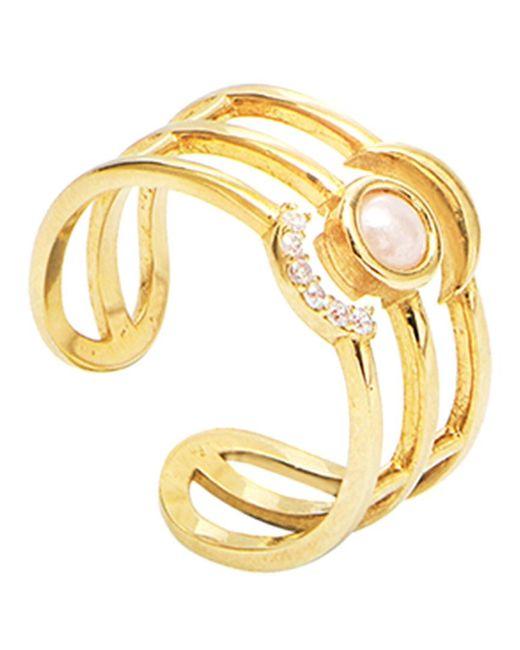 Gabi Rielle Metallic Gold Over Silver Cz Ring