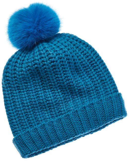Portolano Blue Wool-blend Hat With Faux Fur Pom
