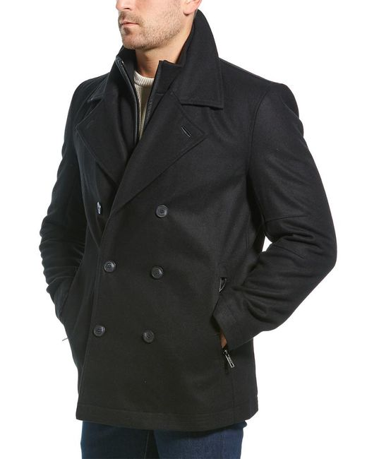 Marc New York Black Emmett Wool-blend Peacoat for men