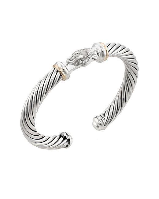 David Yurman - Metallic Vintage 18k White Gold, Sterling Silver & 0.20 Total Ct. Diamond Buckle Bracelet - Lyst