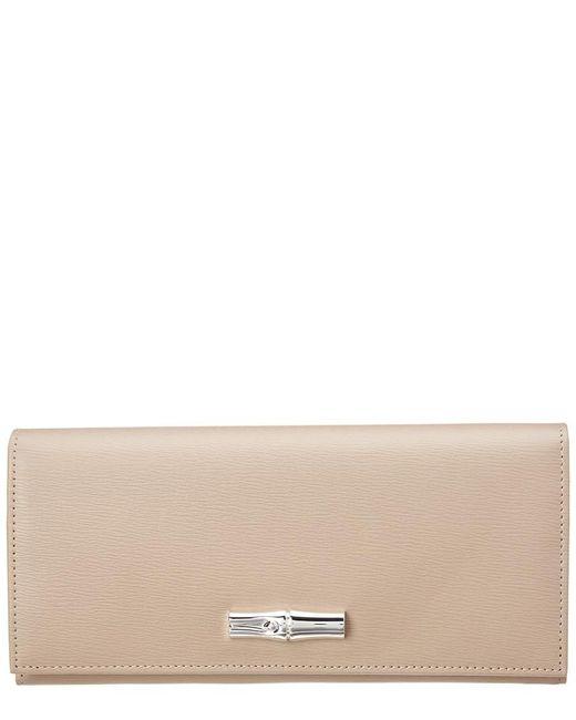 Longchamp - Gray Roseau Long Leather Wallet - Lyst