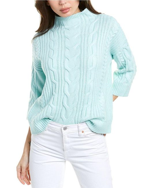 Vince Camuto Blue Elbow-sleeve Cable Stitch Sweater